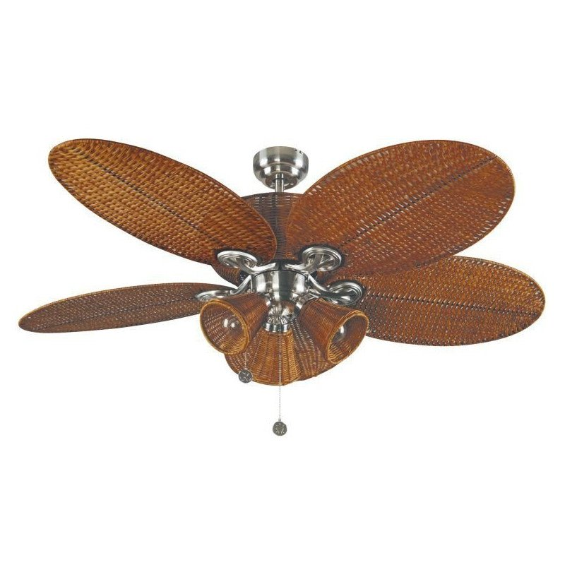 Luminaire with ceiling fan with blades colonial tropical wicker patio colonial tropical ceiling fan 132 cm nickel body and wicker brown with light aloadofball Choice Image