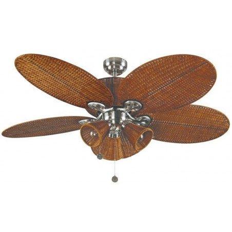 Patio un ventilateur de plafond tropical colonial de 132 Cm corps nickelé et osier tressé marron avec lumière.