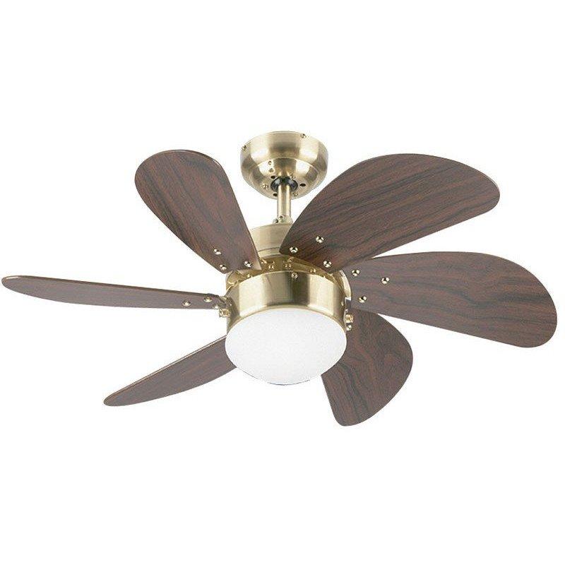 Ventilateur de plafond 76 cm, avec point lumineux, Caoba et laiton vieilli