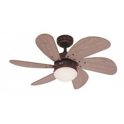 Ceiling Fan, 76 cm., With light. Engine brown steel blades pine.
