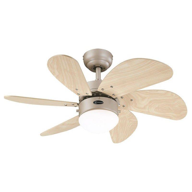 Ventilateur de plafond 76 cm, avec point lumineux, pales chêne clair