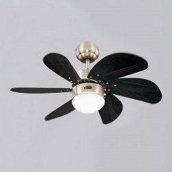 Ceiling Fan, 76 cm., With light. modern style. Engine brushed steel. wenge blades.