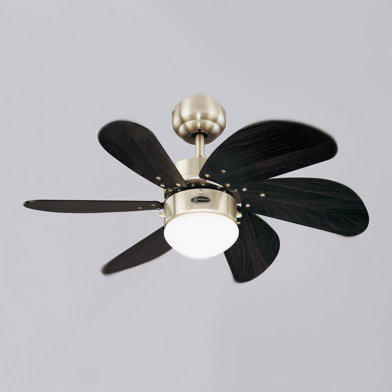 Ventilateur de plafond 76 cm, avec point lumineux, chrome satiné et wengé