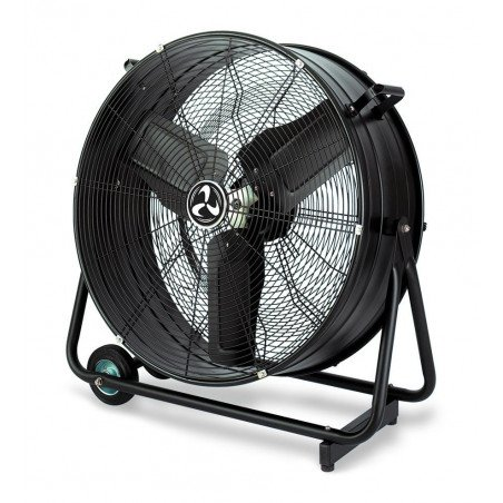 Industrial high velocity fan high performance 65 Cm 123 Watts, mounted on rollers and cage.
