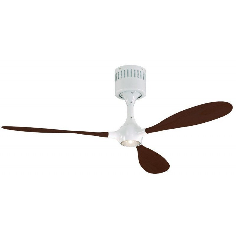 Ceiling fan, modern, white lacquered body, solid walnut blades, remote HELICO PADDEL WE-NB CASAFAN