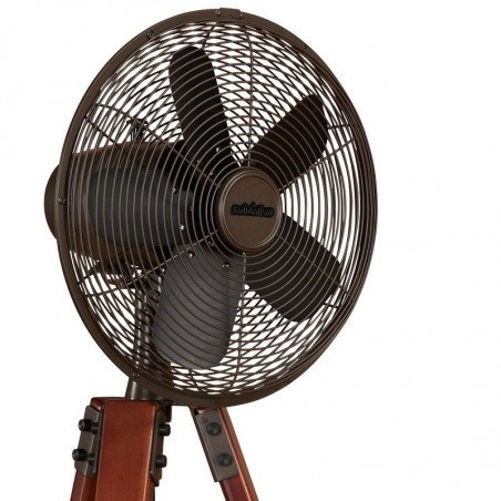 Arden de Fanimation, un ventilateur design, pied tripode en noyer massif, grille bronze huilé