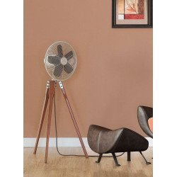 Fanimation Arden, a design fan, foot tripod, solid walnut, satin nickel grid