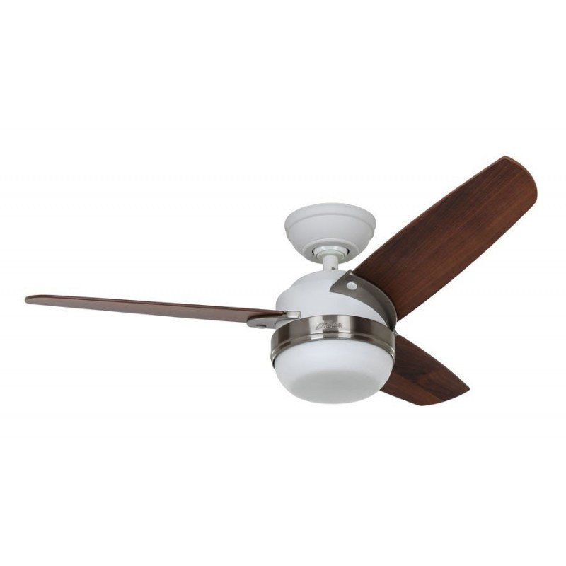 Modern Ceiling Fan With Light 107 Cm White Lacquered Steel Hunter Nova