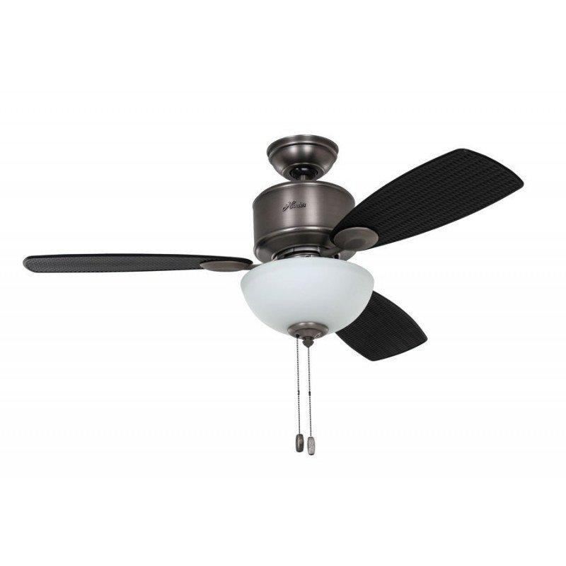 Ventilateur de plafond moderne chrome brossé avec lumière silencieux hunter Koahala bay 132cm