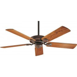 Outdoor ceiling fan IP44, weathered bick and teak blades 132 Cm