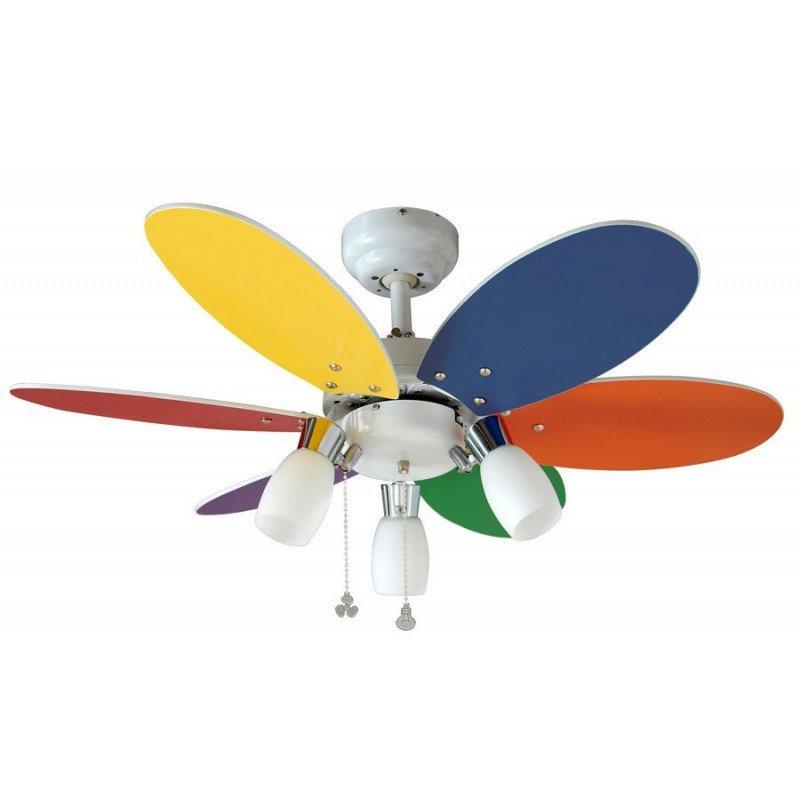 Ventilateur de plafond pour enfants 92 Cm pales multicolores et 3 spot orientables