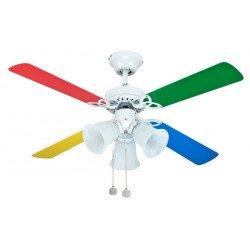 Deckenventilator Für Kinder 105 Cm Mehrfarbige Flügel Und 3 Scheinwerfer.  Sale