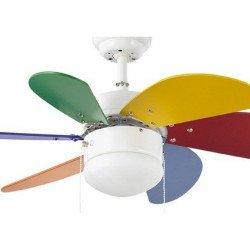 Ventilatore a soffitto, BAMBINI, 81 cm. con luce integrata FARO, multicolore PALAO 33179