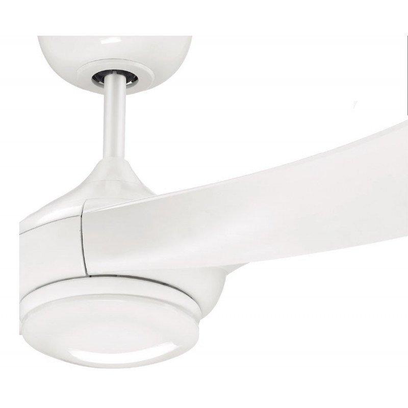 Ceiling fan design white single blade e cellfan led lamp ventilateur de plafond 132 cm 3 spots puissants pales gris argent mozeypictures Images