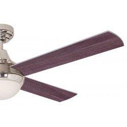 Ventilatore a soffitto, moderni, 122 cm. lame cromate con due facce - grigio bianco. scatola di controllo