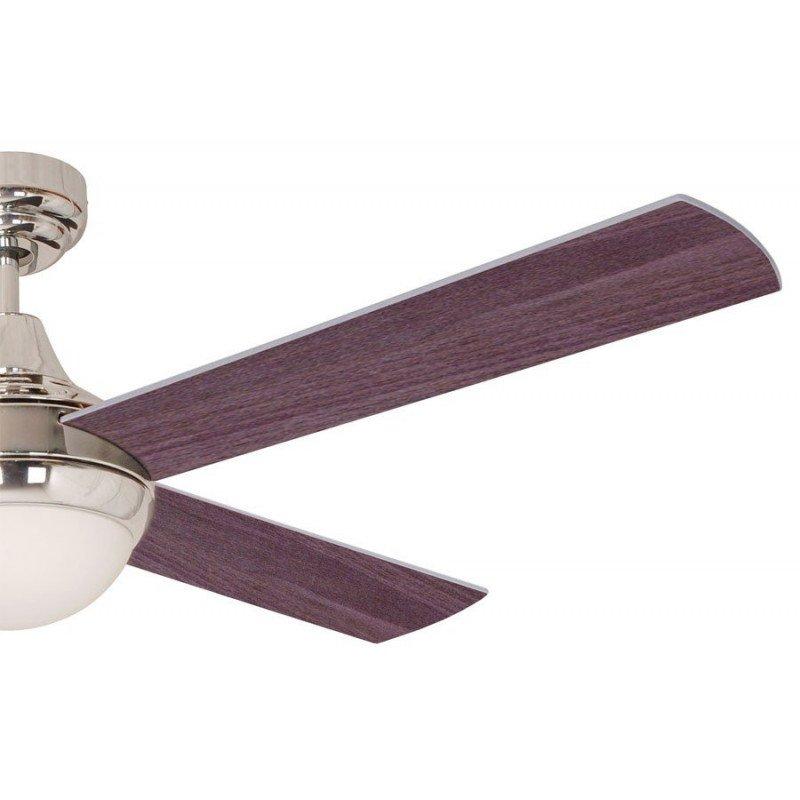 Ventilateur de plafond moderne 122 cm chrome et pales venge et grises telelcommande et lumiere
