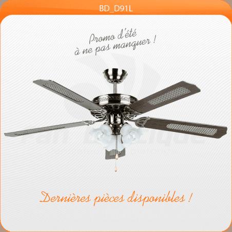 Ventilatore a soffitto 132 cm, ideale per 20-40 mq, lame reversibili con o senza le canne in ottone anticato.