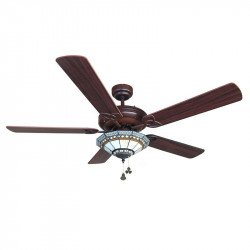 Ventilatore da soffitto classico da 132 cm color cioccolato e ASPAS Noce / pino con vetro tiffany