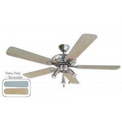 Ventilateur de plafond 132 cm, 3 spots puissants, pales gris argent.