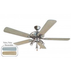 Ventilateur de plafond 132 cm, 3 spots puissants, pales hetre et gris argent.