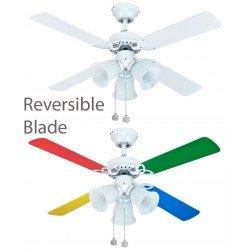 Ventilateur de plafond pour enfants 105 Cm pales multicolores et 3 spot orientables