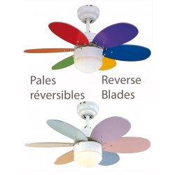 Ventilateur de plafond multicolore pastel et vif 76 cm avec lampe intégrée pales bifaces multicolore pastel et vif.