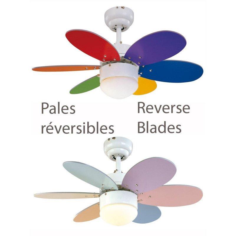 Ventilateur de plafond multicolore 76 cm avec lampe intégrée - FARO PALAO gris 33186
