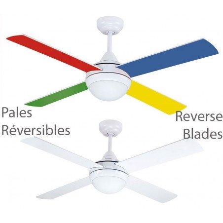 Ventilateur de plafond pour enfants 122 Cm silencieux pales multicolores et lumière et télécommande