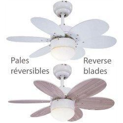 Ventilateur de plafond blanc et pins 76 cm avec lampe intégrée pales bifaces.