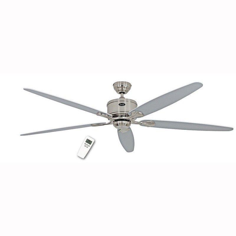 Ventilateur de plafond DC 180 Cm, Eco Elements BN, chrome satiné, pales blanches et gris clair, télécommande