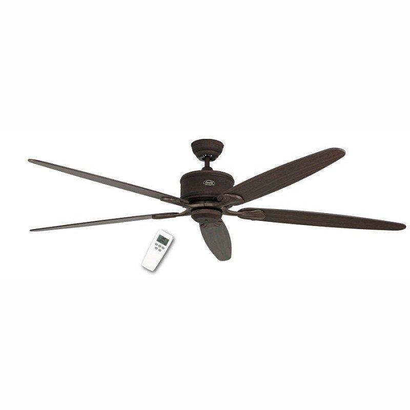 Ventilateur de plafond DC 180 Cm, Eco Elements BA, brun antique, pales chêne vieilli et Hêtre, télécommande
