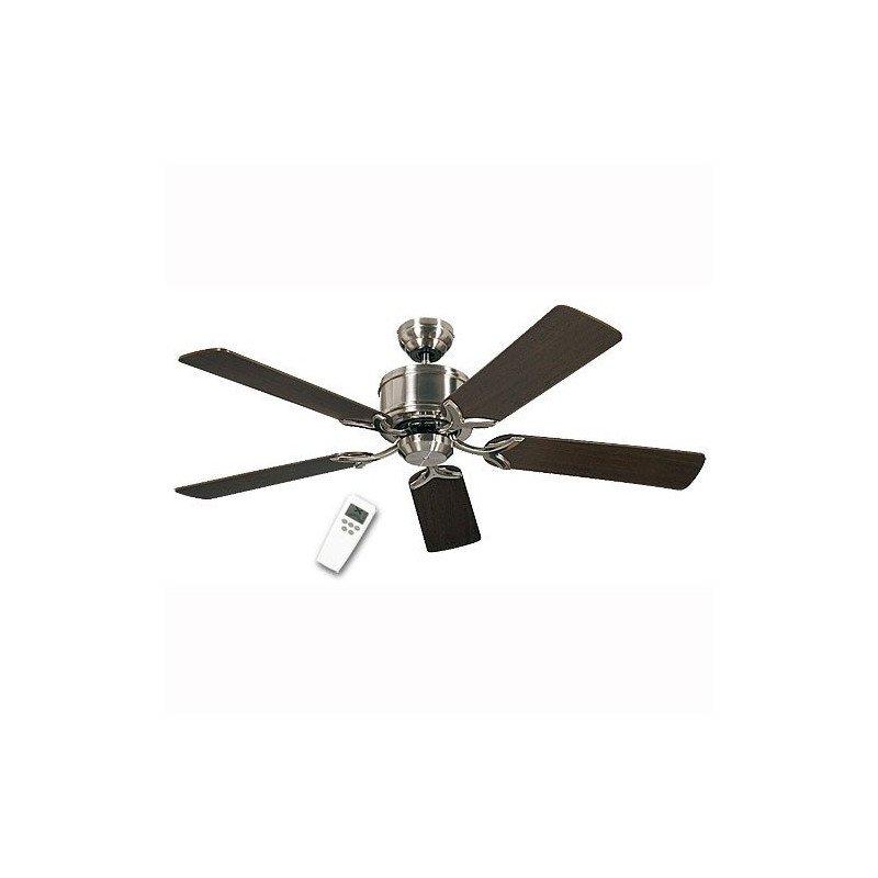Ventilateur de plafond DC, Eco Elements BN, classique 132 Cm Gris Chrome satiné, pales Wengé et érable, télécommande, CASAFAN