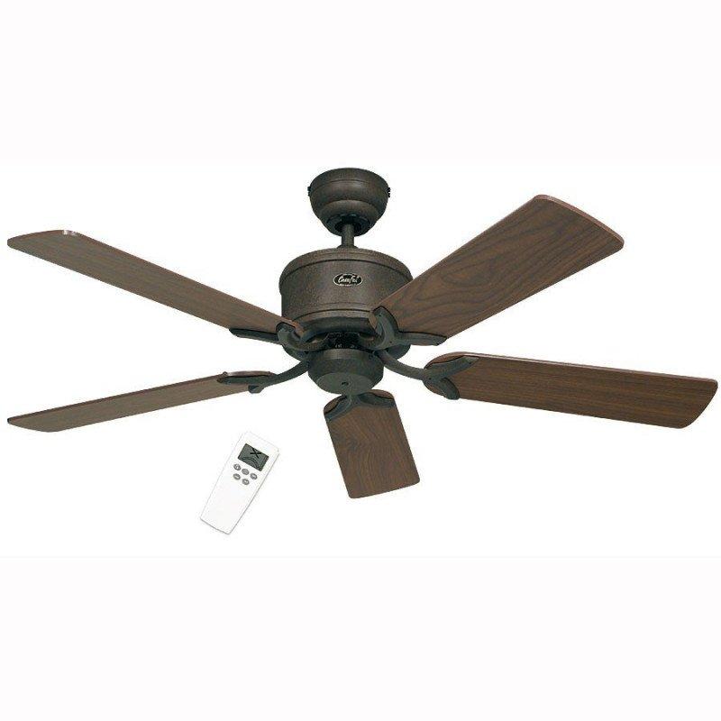 Ventilateur de plafond DC, Eco Elements BA, classique 132 Cm Gris brun antique, pales Noyer et Hêtre, télécommande, CASAFAN