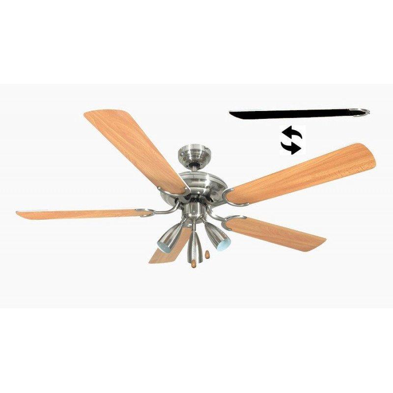 Ventilateur de plafond 132 cm, 3 spots puissants,