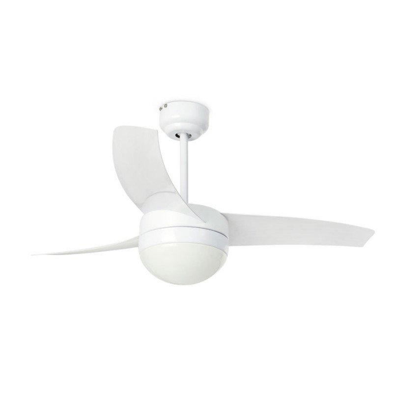 Ventilateur de plafond moderne blanc 105 cm avec lampe,télécommande IR, FARO EASY 33415