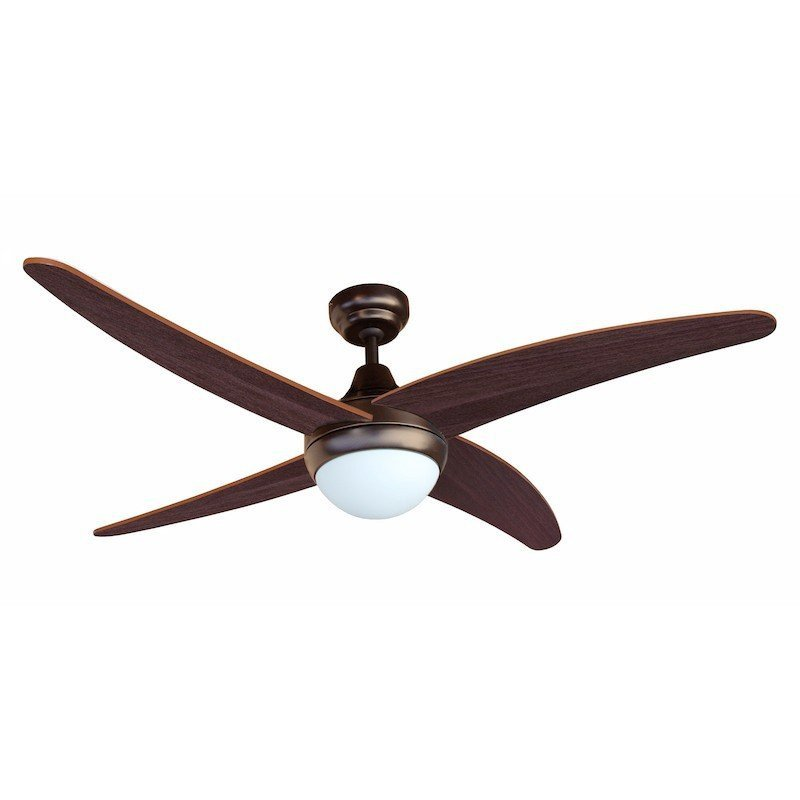 Modern ceiling fan 122 cm lacquered in chocolate colour, walnut blades and remote control