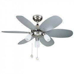 Ventilatore da soffitto 92 cm lame reversibili in argento e acero, 3 punti regolabili