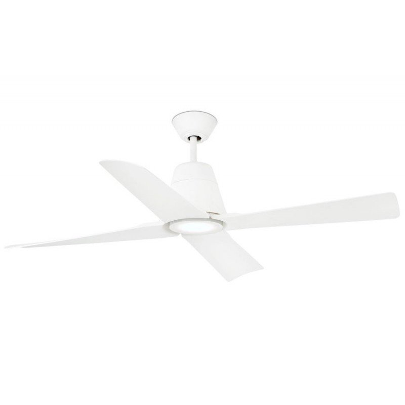 Ceiling fan with LED, IP 44 for large size white lacquered DC 130 cm FARO Typhoon