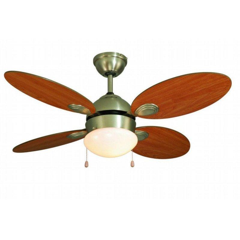 Ventilateur de plafond 106 cm avec lampe intégrée - LIBE- Pales Bi-face Chêne vieilli et érable