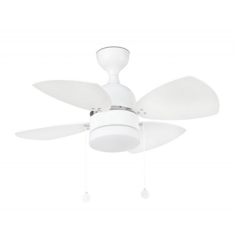 Ceiling Fan 106 cm with integrated light -LIBE- reversible blades - aged oak / maple