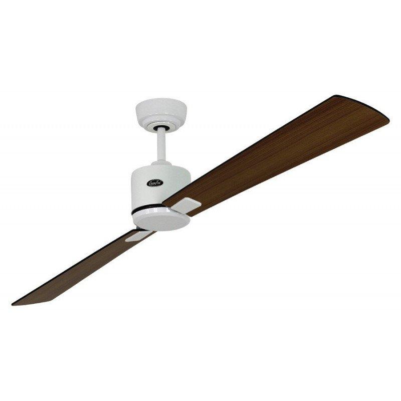 Ventilateur de plafond DC, moderne 180 Cm laqué blanc pales plaquées noyer, wengé, télécommande, CASAFAN Eco Neo II WE