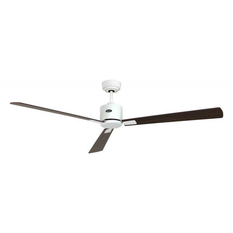 Ventilateur de plafond DC, moderne 152 Cm laque blanc pales plaquees noyer, cerisier, telecommande, CASAFAN Eco Neo II WE