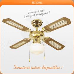 Ventilateur de plafond 91 cm, idéal pour 9 à 13 m², Pales réversibles avec ou sans canisses laiton antique.