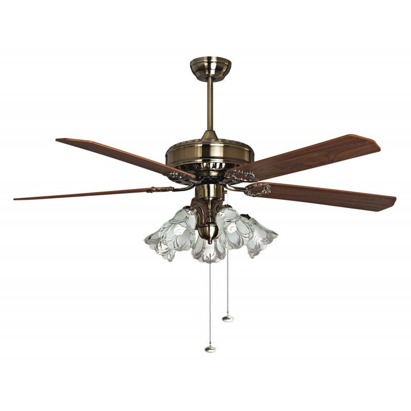 Purline by Klassfan, Toureillo a classic ceiling fan blades oak / Magahoni 152 cm, with Led light