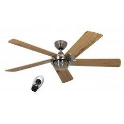 Ventilateur de plafond, Rotary BN, moderne 132 Cm, Chrome brossé, pales Pins , Télécommande, CASAFAN