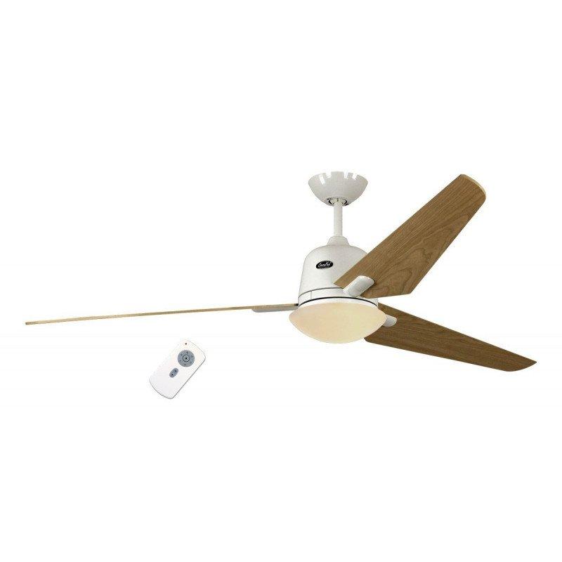 Ventilateur de plafond DC Eco AVIATOS BN-ah, moderne 132 Cm chrome brossé, pales érable avec lampe ultra silencieux