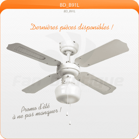Ceiling Fan 91 cm, ideal for 9-13m², reversible blades with or without antique brass reeds.
