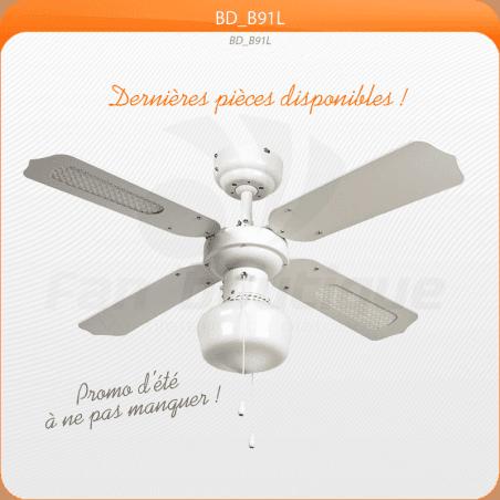 Ventilateur de plafond 91 cm, idéal pour 9 à 13 m², Pales réversibles avec ou sans canisses.
