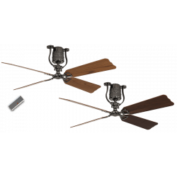 Ceiling Fan, tin, vintage, 152 Cm. oak and walnut blades, DC motor, remote control, Roadhouse ZN-BN CASAFAN