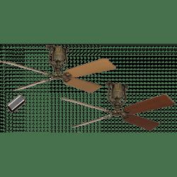 Ceiling Fan, vintage, 152 Cm. brass beech /cherry blades, DC motor, remote control, Roadhouse MA-BN CASAFAN